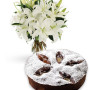 torta-al-cioccolato-e-pere-con-bouquet-di-gigli